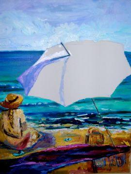 Self Portrait Helen Tilston painted on beach