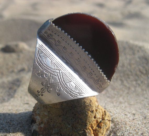 Old Silver and Carnelian Sahara Ring by bissap on Etsy, $200.00