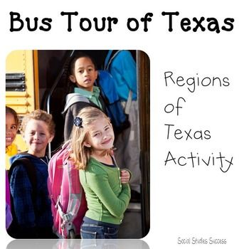 "Which is the best Texas region to live in? Students will explore this essential question as they take an imaginary field trip around the great state of Texas in the ""Bus Tour of Texas"". Students will begin the lesson with a preview assignment. They will then grab a partner, and go on a field trip of the different regions of Texas. Your kids will see images of the regions out of the ""bus window"", and then go to 4 different bus stops at different locations around the state."