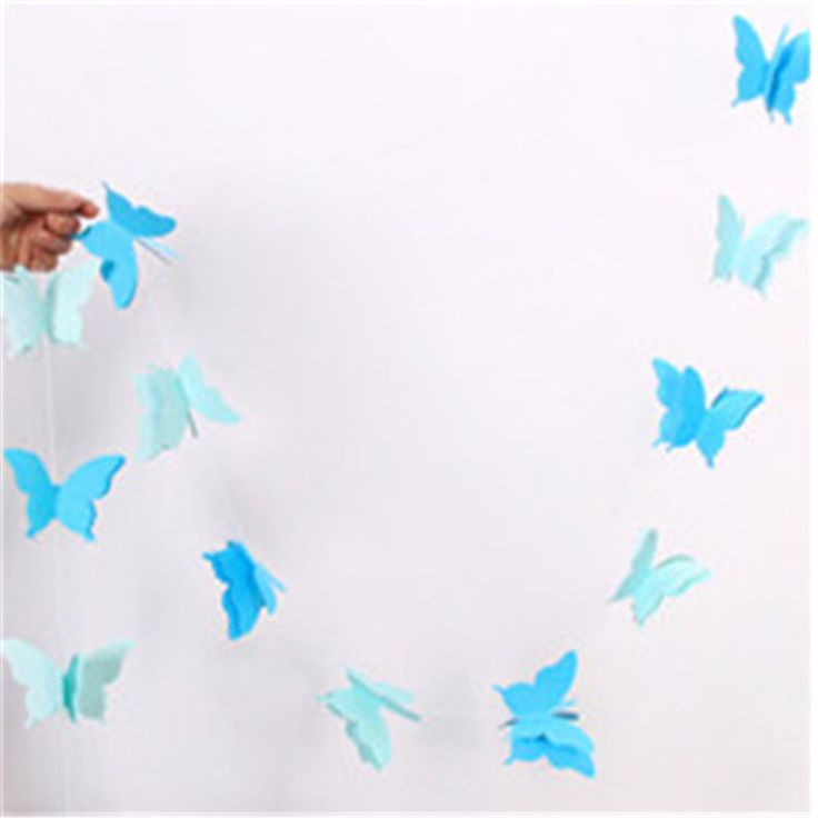 Blue Butterfly 2.8Meters/One Colorful Ribbon Wedding Birthday Decoration Hanging Party Suppliers  Streamers