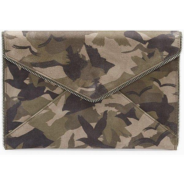 Rebecca minkoff leo clutch green camo (€210) ❤ liked on Polyvore featuring bags, handbags, clutches, brown purse, camo handbags, magnetic purse, camouflage handbags and pocket purse