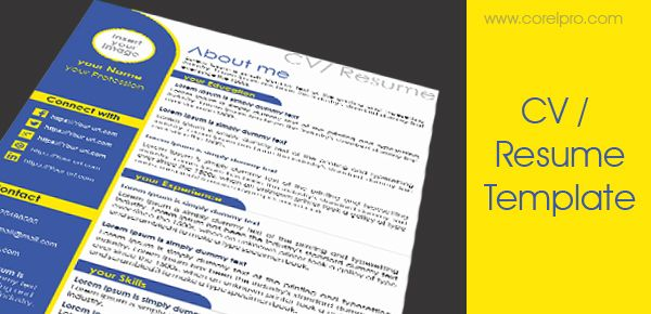resume template design in coreldraw for free download