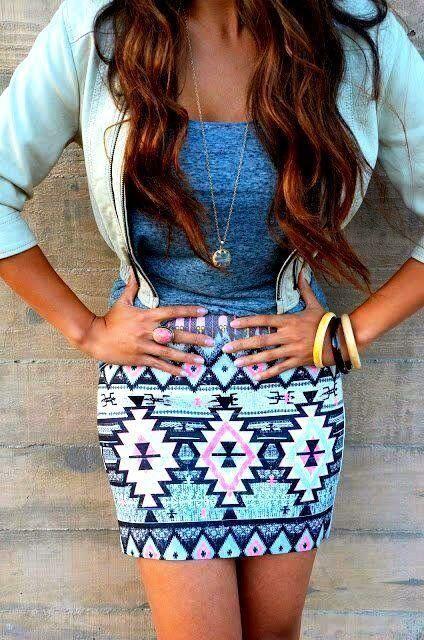 Tribal Aztec Print Skirt #fashion