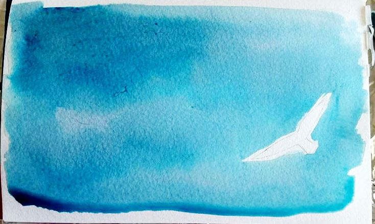 watercolor sea sky https://www.facebook.com/Peloocha/