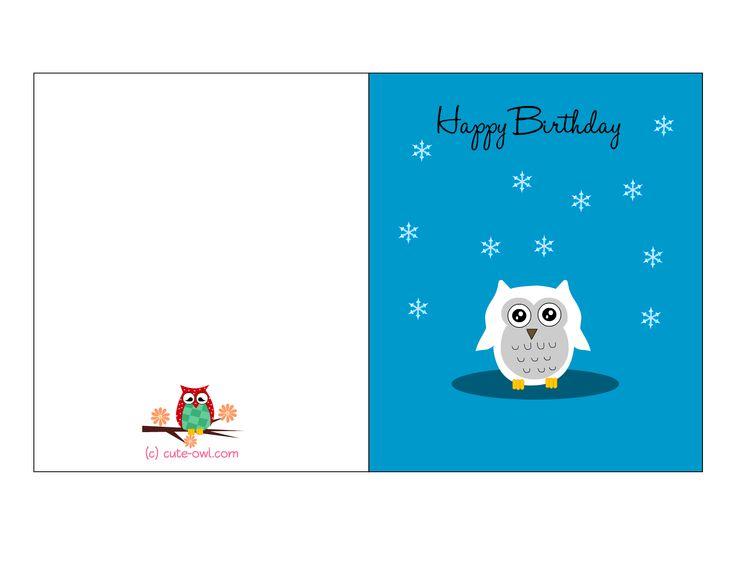 Music Birthday Card Cute Owl Adorable Print Cards Th