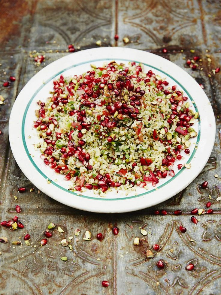 Tabbouleh Salad | Vegetable Dishes | Jamie Oliver. I LOVE Tabbouleh and this ones sounds beautiful and different. I use barley base instead of the bulgur wheat. I see it as healthier and I just love barley...many people cannot eat wheat and appreciate this substitution. I find that it is even better the next day too! 30 minutes and serves 4.