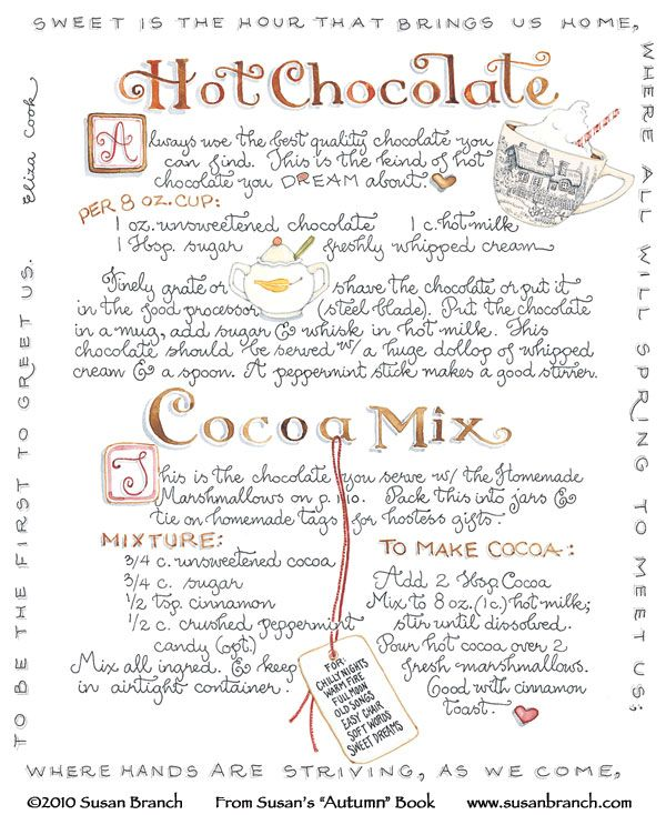 windmillsnat:    Hot Chocolate! By Susan Branch