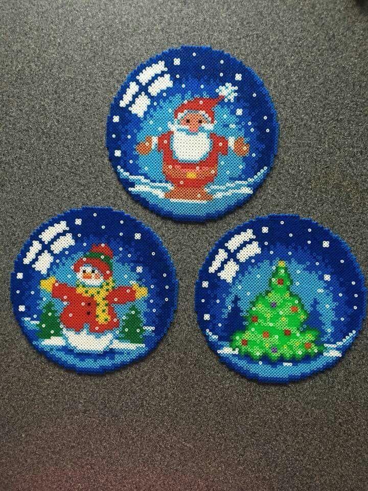 Realistic snowball themed hama beads coasters