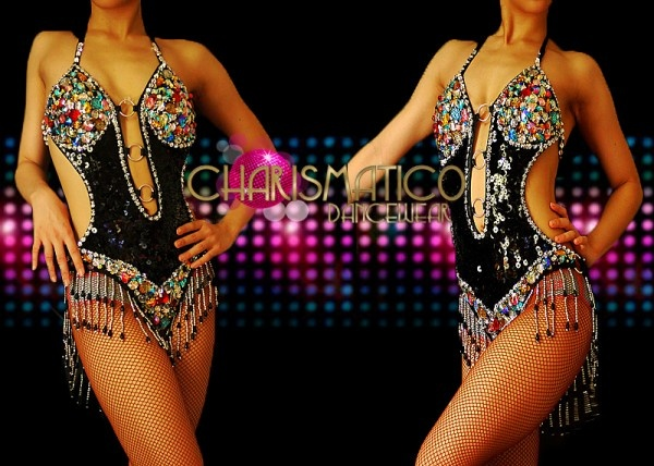 Charismatico Dancewear Store - CHARISMATICO Black Sequined, Multicolor Beaded Crystal Dance showgirl Leotard with Fringe Edging, $130.00 (http://www.charismatico-dancewear.com/products/CHARISMATICO-Black-Sequined,-Multicolor-Beaded-Crystal-Dance-showgirl-Leotard-with-Fringe-Edging.html)