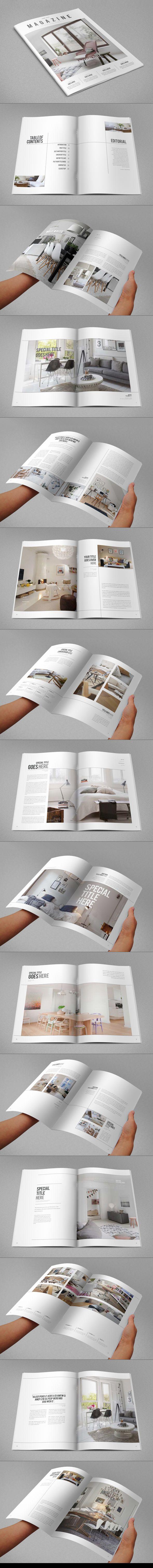 Minimal Interior Design Magazine. Download here: http://graphicriver.net/item/minimal-interior-design-magazine/9499179?ref=abradesign #magazine #template #design #editorial