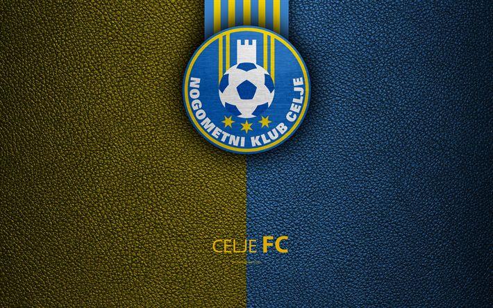 Download wallpapers NK Celje, 4k, Slovenian football club, emblem, leather texture, PrvaLiga, Celje, Slovenia, Slovenian First Football League, football