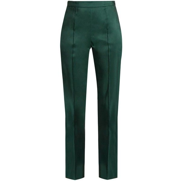 Rosie Assoulin Oboe silk-faille slim-fit trousers (9,315 CNY) ❤ liked on Polyvore featuring pants, dark green, slim fit pants, high waisted pants, silk pants, slim fit trousers and green high waisted pants