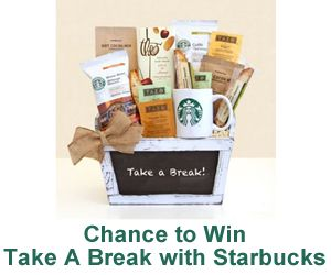 Take a Break with Starbucks Sweepstakes. USA only and ends on 4/20