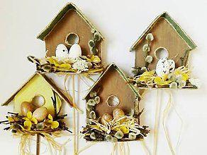 Dekorácie - Vtáčia búdka, zápich do kvetináča - 6514762_