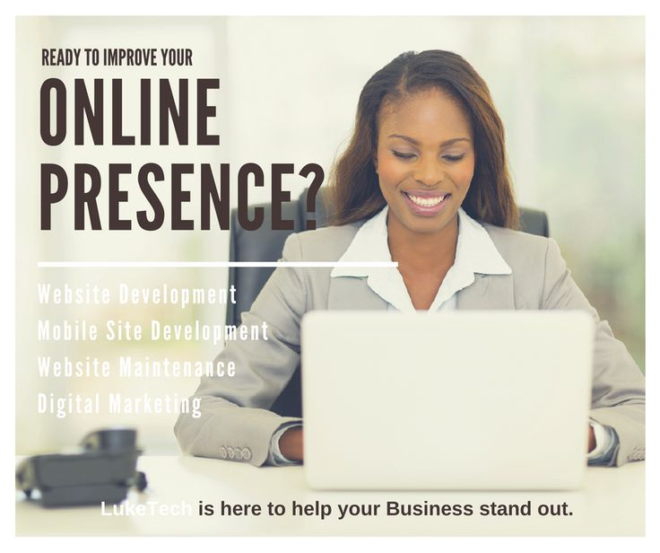 Are you ready to improve your online presence? Luketech is here to help.  Whether it's Website Development, Mobile Site Development, Website Maintenance, or Digital Marketing, LukeTech has you covered with professionals ready to work hard to make your business stand out.