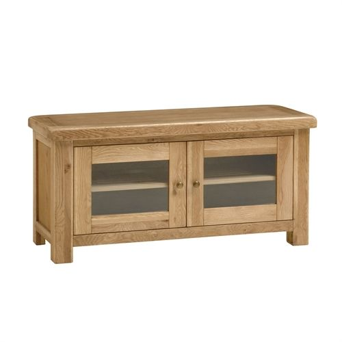 """Kingsley Oak Large TV Unit with 2 Doors - up to 57"""" (K513) with Free Delivery   The Cotswold Company"""