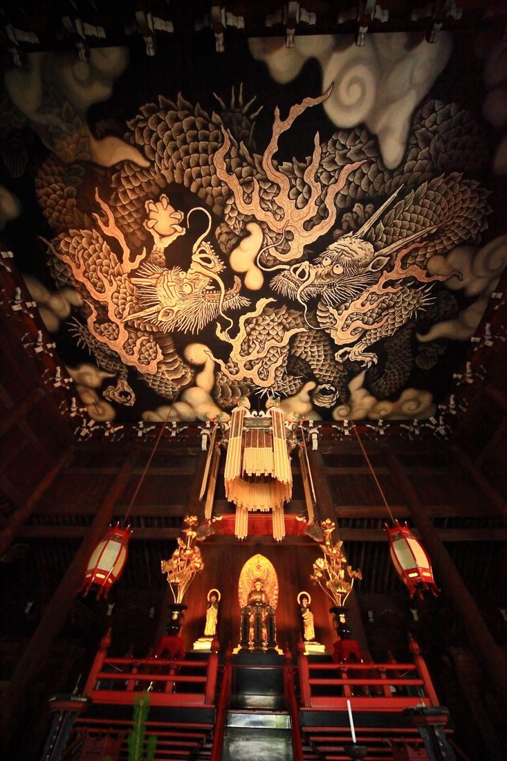 Ceiling paintings at Kennin Temple, Kyoto, Japan