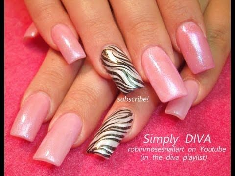 EASY barbie pink nail art DIVA zebra print robin moses GLITZ AND GLAM tutorial design 669 - YouTube