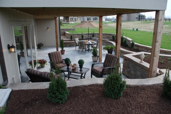 Patio ideas in the yard pinterest terraced for Walkout basement patio