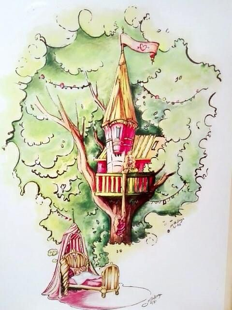 """Rapundzel and the treehouse """"Print""""    A little girl dreaming about two Rapundzel finally being resqued by her girlfriend <3    Arist: NIlle Horgen of www.nilleillustrations.com    #lgbt #gay #gayrights #homo #equality #gaynorway #norway #lgbtillustrations #loveiloveisloveislove #nilleillustrations"""