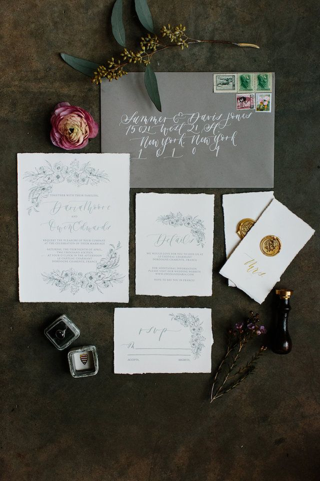 Monochromatic Illustrated Floral Wedding Invitations 1007 best