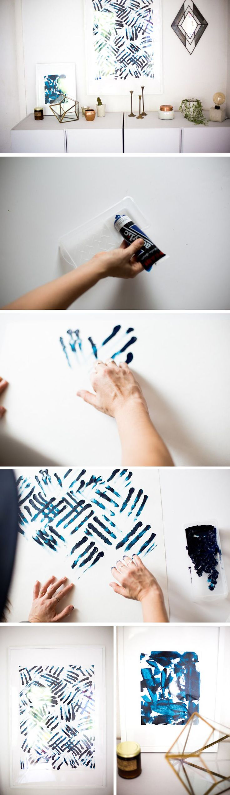 Finger Painting Diy Exotic Blue Stripes