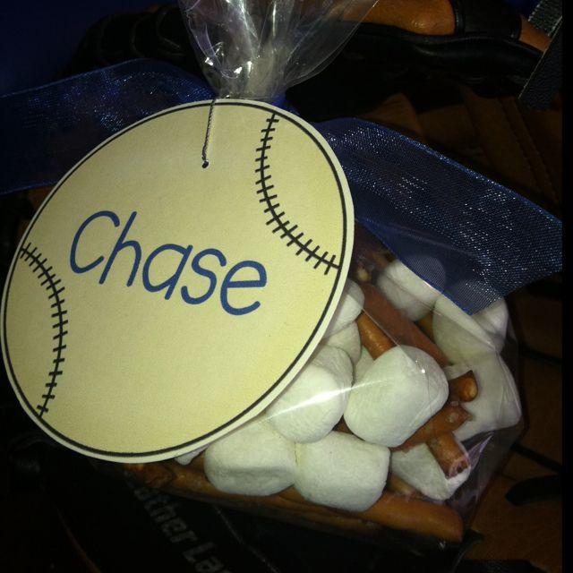 Tee Ball snacks for C's team--bats and balls. (Pretzel sticks and marshmallows ).
