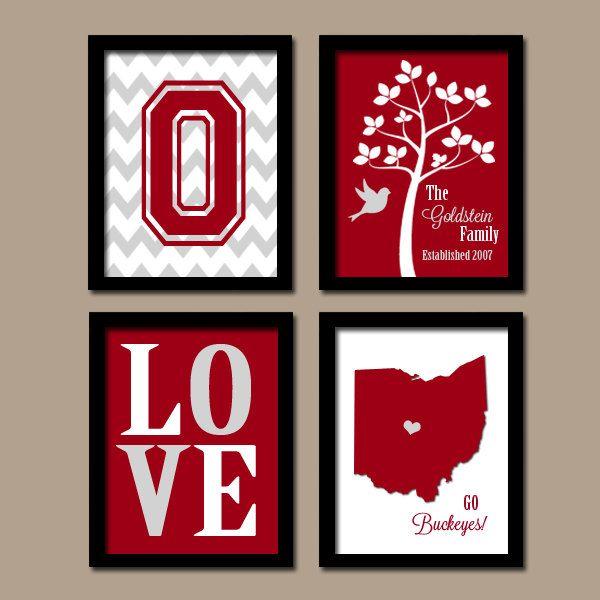 STATE Family Wall Art, College Dorm Decor, School Graduation University  LOVE Ohio Bird Tree, Red Wedding Gift, Set Of 4, Canvas Or Print