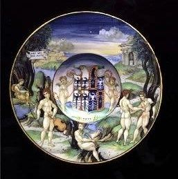 Nicola di Grabriele Sbraghe da Urbano (ca. 1480-1537/38) Service of Isabella d'Este (1474-1539), Plate with the legend of Apollo and Marsyas Italy, Urbino, ca. 1524-1525, Majolica a istoriato, painted in polychrome, D. 23 cm London, Ranger's House, Wernher Collection