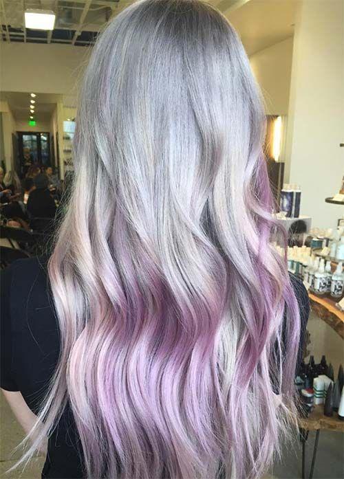 Granny Silver/ Grey Hair Color Ideas: Grey Lilac Balayage Hair