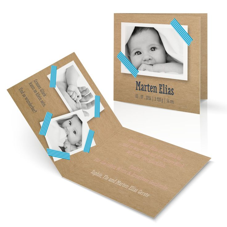 Baby Geburtskarte Masking Tape ✔ in wenigen Schritten individuell gestalten ✔ edler Druck & hochwertiges Material