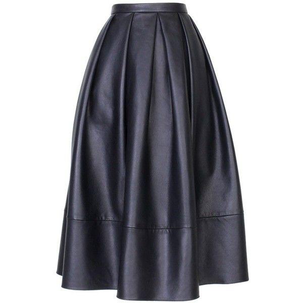 TIBI Leather Full Skirt found on Polyvore