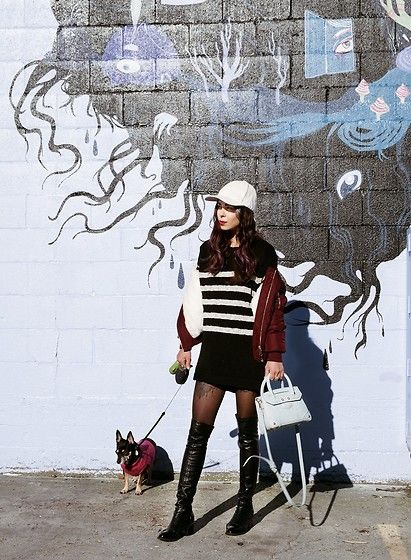 Get this look: http://lb.nu/look/8620085  More looks by Maria P: http://lb.nu/marialookingglass  Items in this look:  Aliexpress White Suede Baseball Cap, Topman Black & White Striped Sweater, Topshop Burgundy Bomber Jacket, Zaful Blue Crossbody Bag, Aliexpress Black Over The Knee Boots   #casual #edgy #street #fashionblogger #styleblogger #fashionbloggerstyle #stripes #bomberjacket #baseballcap