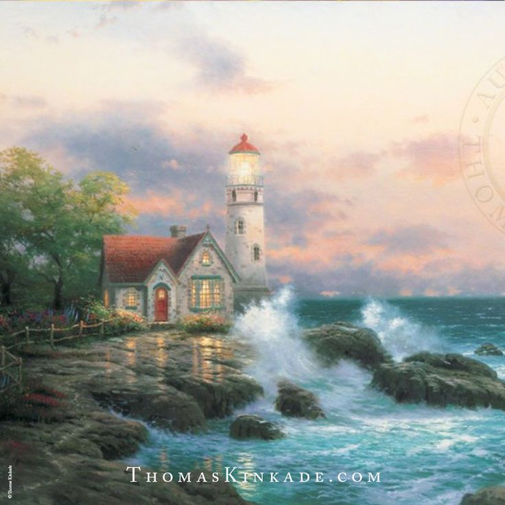 """Beacon of Hope"" was released in March 1994. This painting was the first in Thom's series of lighthouses. Two crosses appear in this work. The first is found with the sailboat making a cross figure. The lighthouse hosts the second cross high atop the beaming tower. Thom said that this work ""celebrates not only the longing for salvation, but the power of art to express that aspiration."""