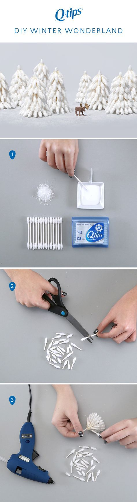 When the weather outside is frightful, create a winter wonderland inside using Q-tips! To create snowy trees, start by dipping the tapered ends of Q-tips Precision Tips in glue and glitter. Lay out on wax paper to allow them to dry. Then cut the swabs in different lengths for the parts of the trees. Glue the cut ends onto a Q-tips cotton swab, starting with the longer ones at the bottom and the shorter ones at the top. Arrange with fun miniatures for a wintery forest in the comfort of your…