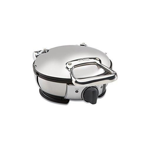 All-Clad 99012GT Stainless Steel Classic Round Waffle Maker with 7 Browning Settings 4-Section Silver