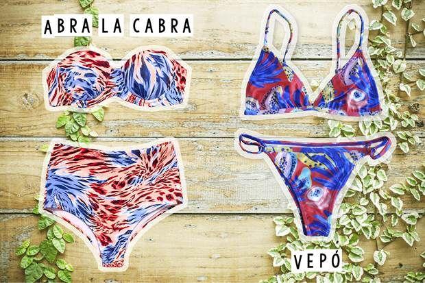 Especial bikinis  Bikini bombacha tiro alto y corpiño armado $650 de Abra La Cabra / Bikini triangulito estampada $935 de Vepó.