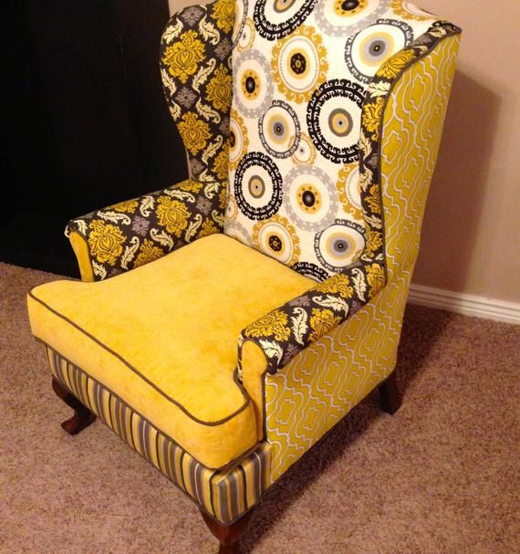 Accent Chair Custom Pair Of Wingbacks In The Yellow One