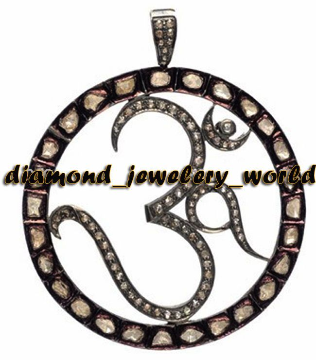 Vintage 3.68cts Rose Antique Cut Diamond Sterling Silver Lord OM Pendant Jewelry #DiamondJeweleryWorld #ReligionNaturalDiamondLordOMPendants