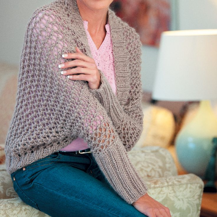 Keep warm on in-between days with our lacy knitted shrug by Elaine Van Wyk of I Love Yarn.