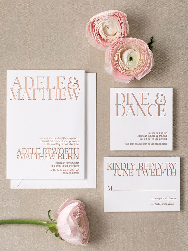 """If you're saying """"I do"""" in a gallery or contemporary loft space, opt for a striking design with block text. Elevate this modern look with text wrapped in rose gold foil for an elegant finish."""