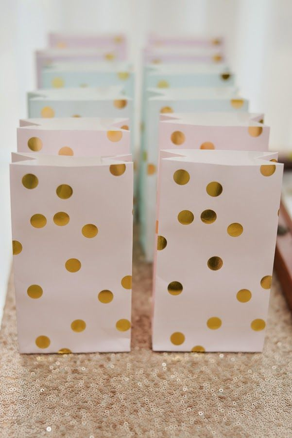 Pink, Blue and Gold Polka Dot Favor Bags