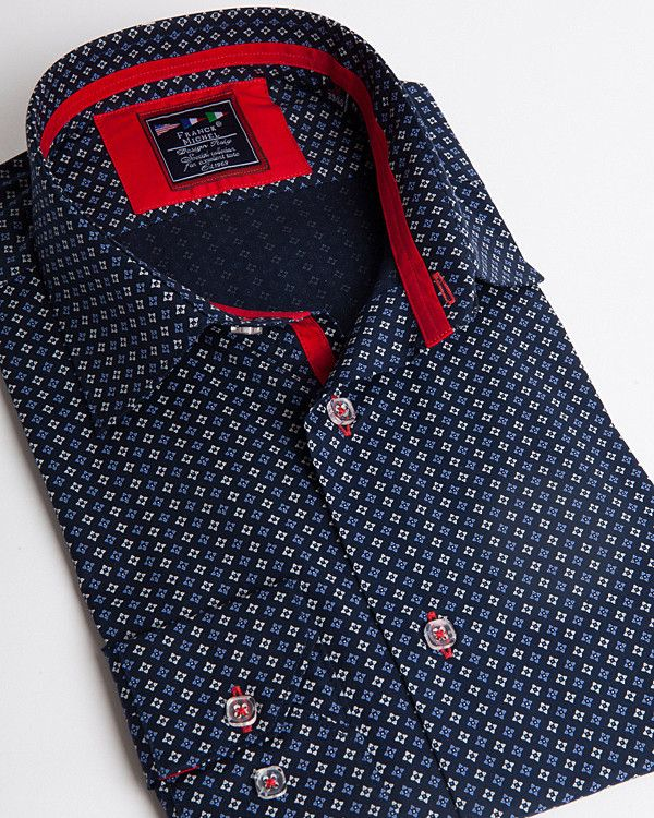 Fashion shirt   Light blue dress shirt with small flower pattern
