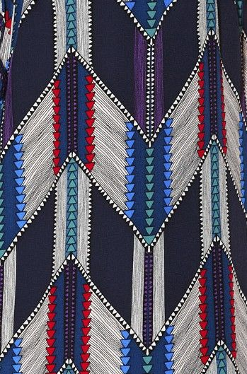 Geometric shapes are very prominent in African patterns especially the Aztec patterns of the African tribes. The blend of blues and reds in this brings a contemporary feel; add a striking colour to break through the colours inspired by African mammals maybe utilising one of the many bright colours seen in African birds.