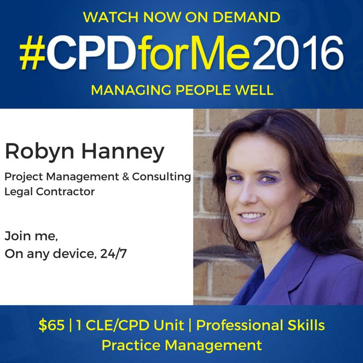 $65 #auslaw #lawyers #CPD Watch Now Managing People Well @robynhanney http://bit.ly/CPD-MgningPeople On-Demand