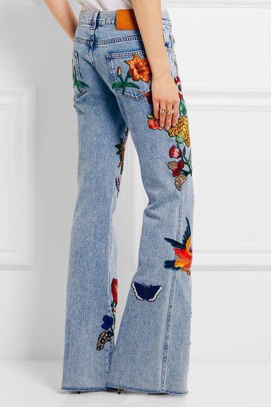 Gucci - Appliquéd Mid-rise Flared Jeans - Light denim -
