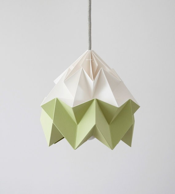 Moth paper folded origami lamp green/white by Studio Snowpuppe