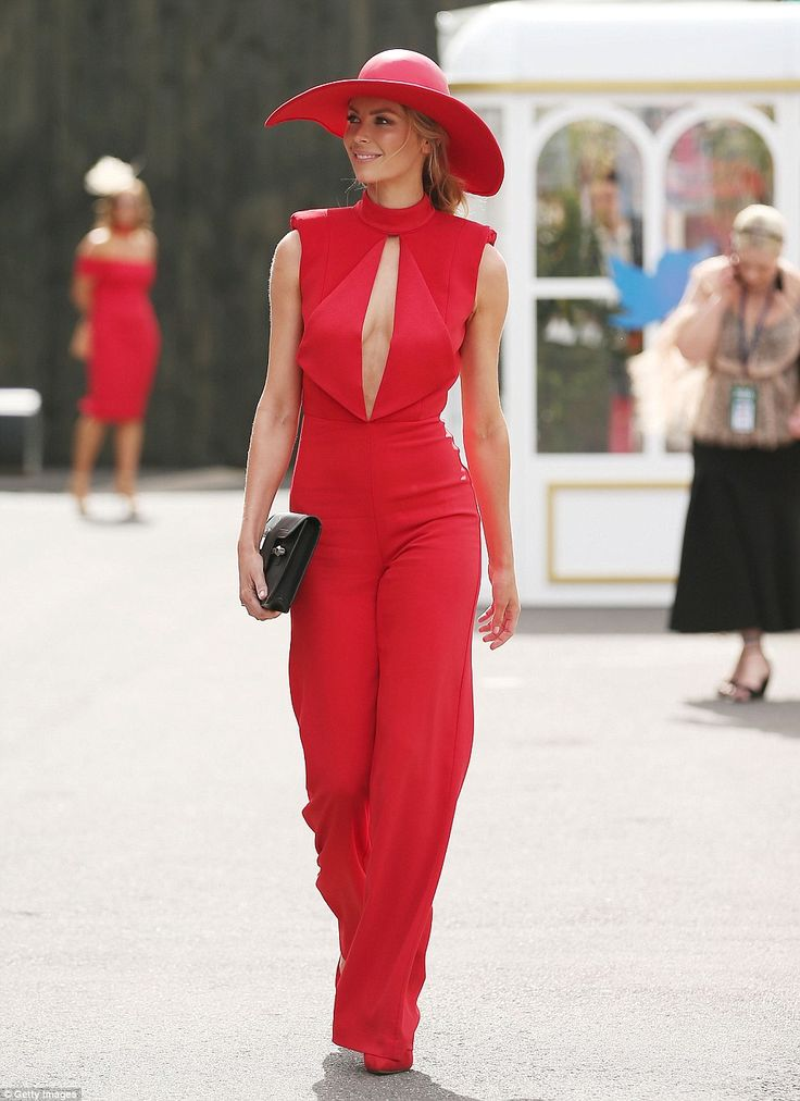Sultry: Jennifer Hawkins also led the style stakes as she strutted her stuff in a cherry r...