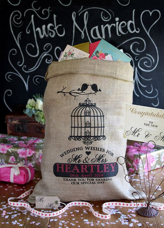 Personalized Wedding Post Box Vintage Birdcage By HessianandBurlap GBP1599