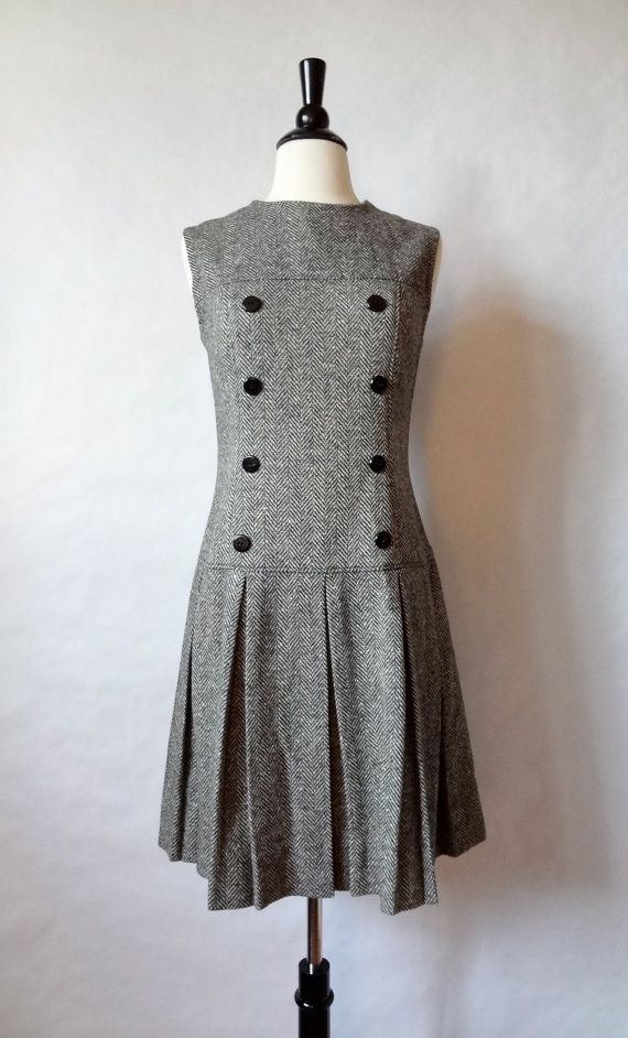 60s mod dress / herringbone tweed jumper / drop waist scooter dress / preppy schoolgirl / women dress medium